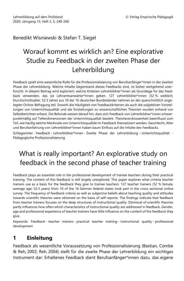 Feedback Teacher Training Stefan T. Siegel