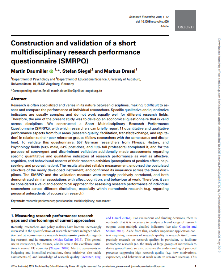 Construction and Validation of a Short Multidisciplinary Research Performance Questionnaire